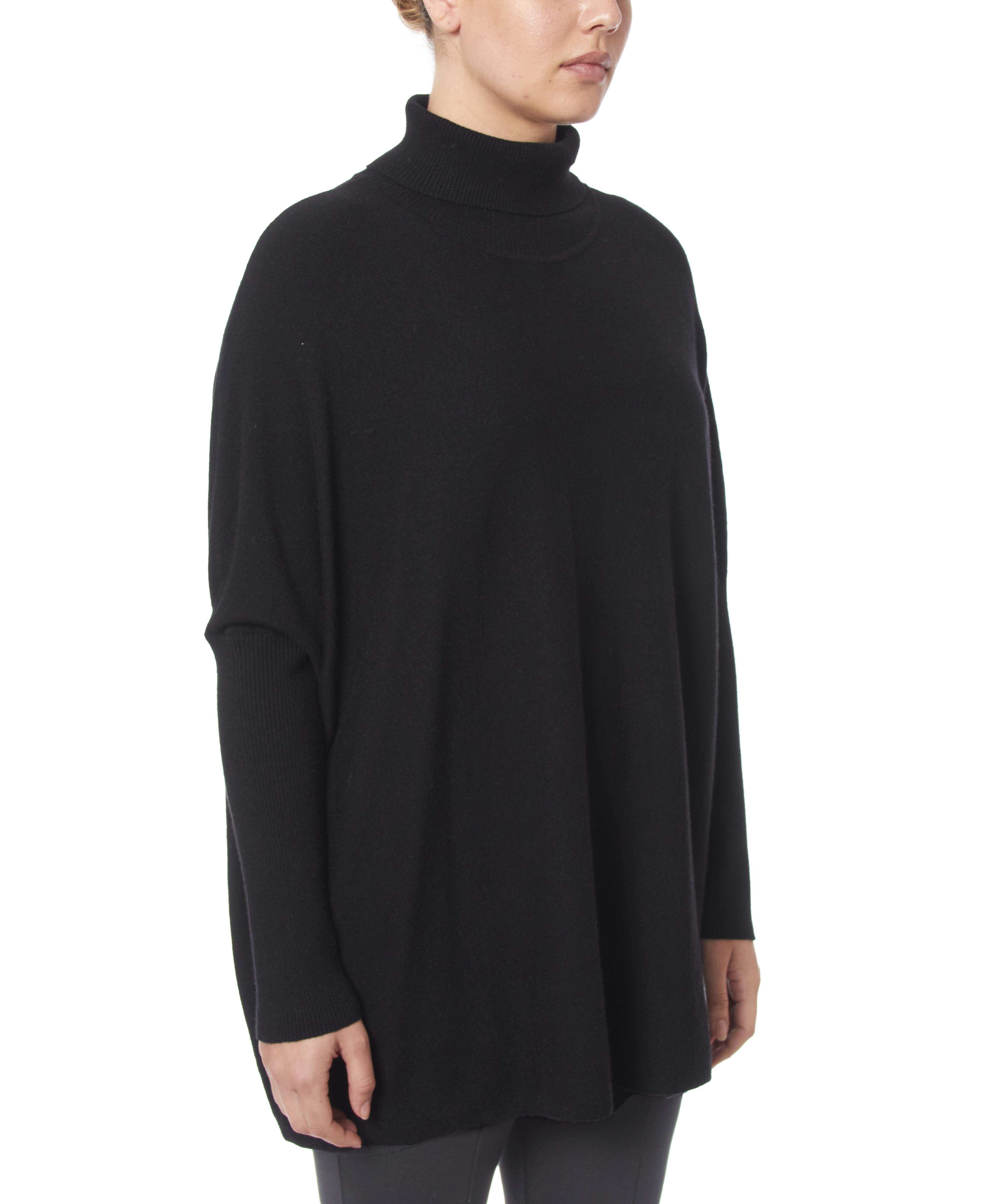 Turtleneck Poncho in Black