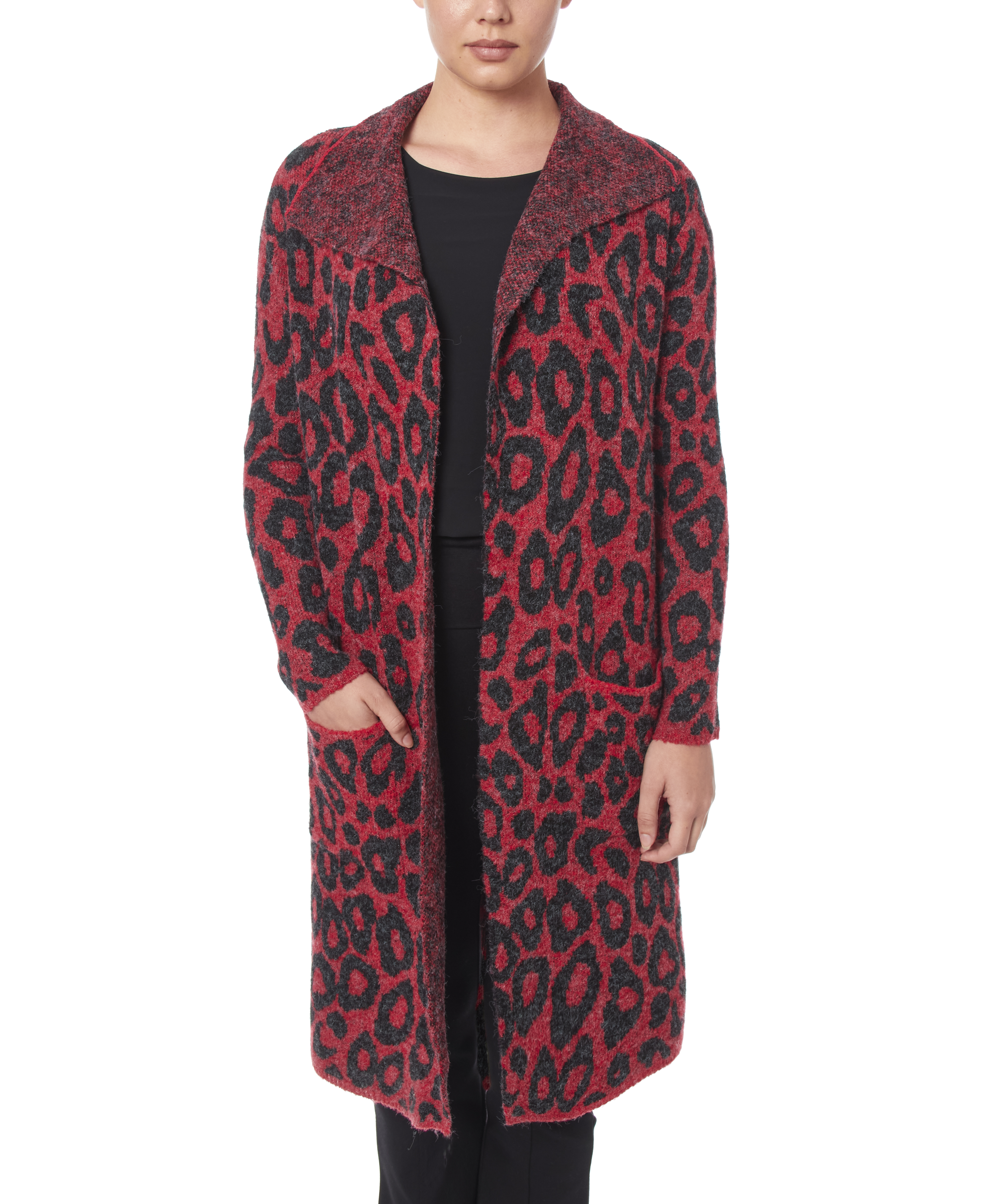 Drape Collar Coatigan in Modern Leopard