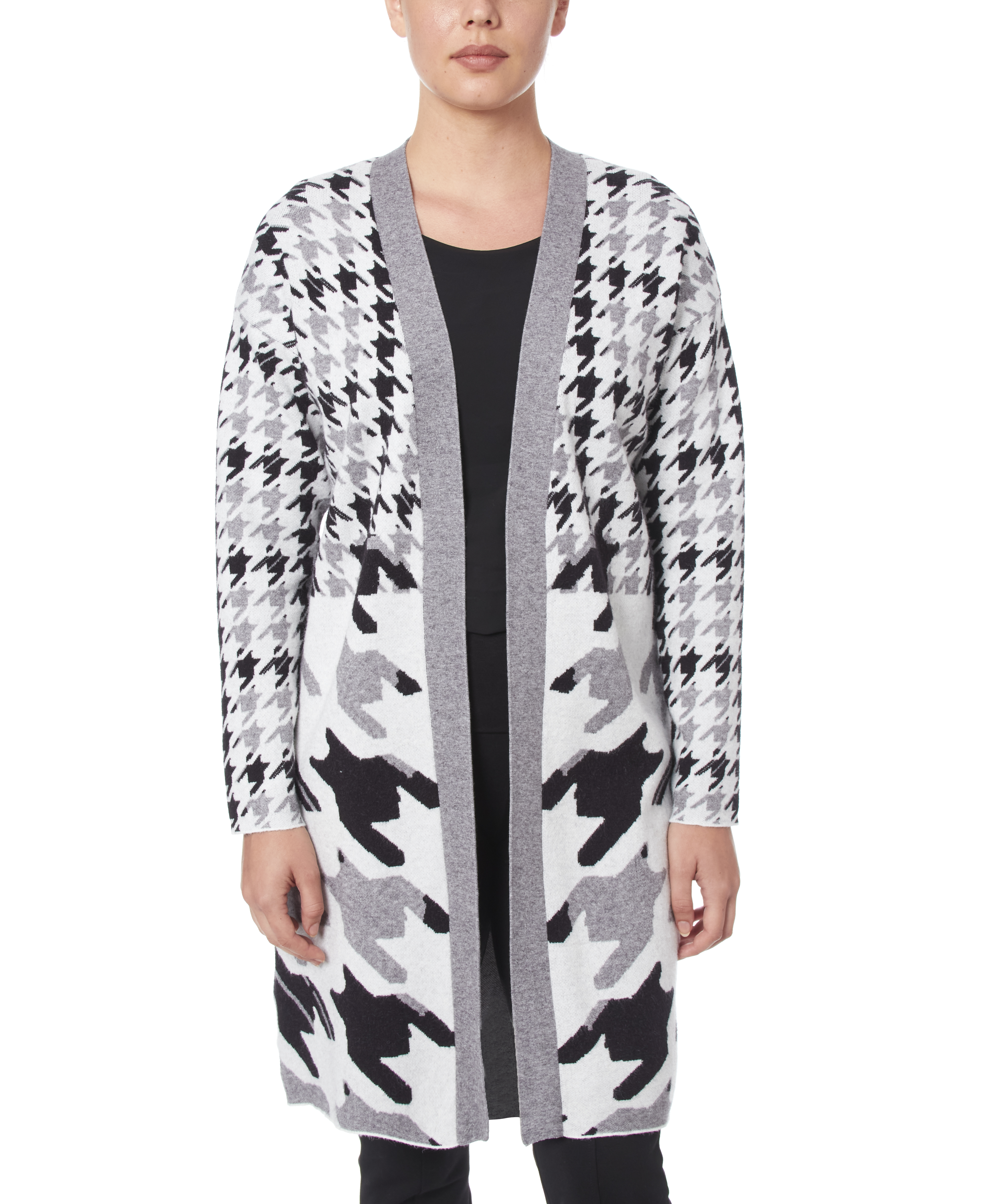 Long Open Front Cardigan in Layered Houndstooth