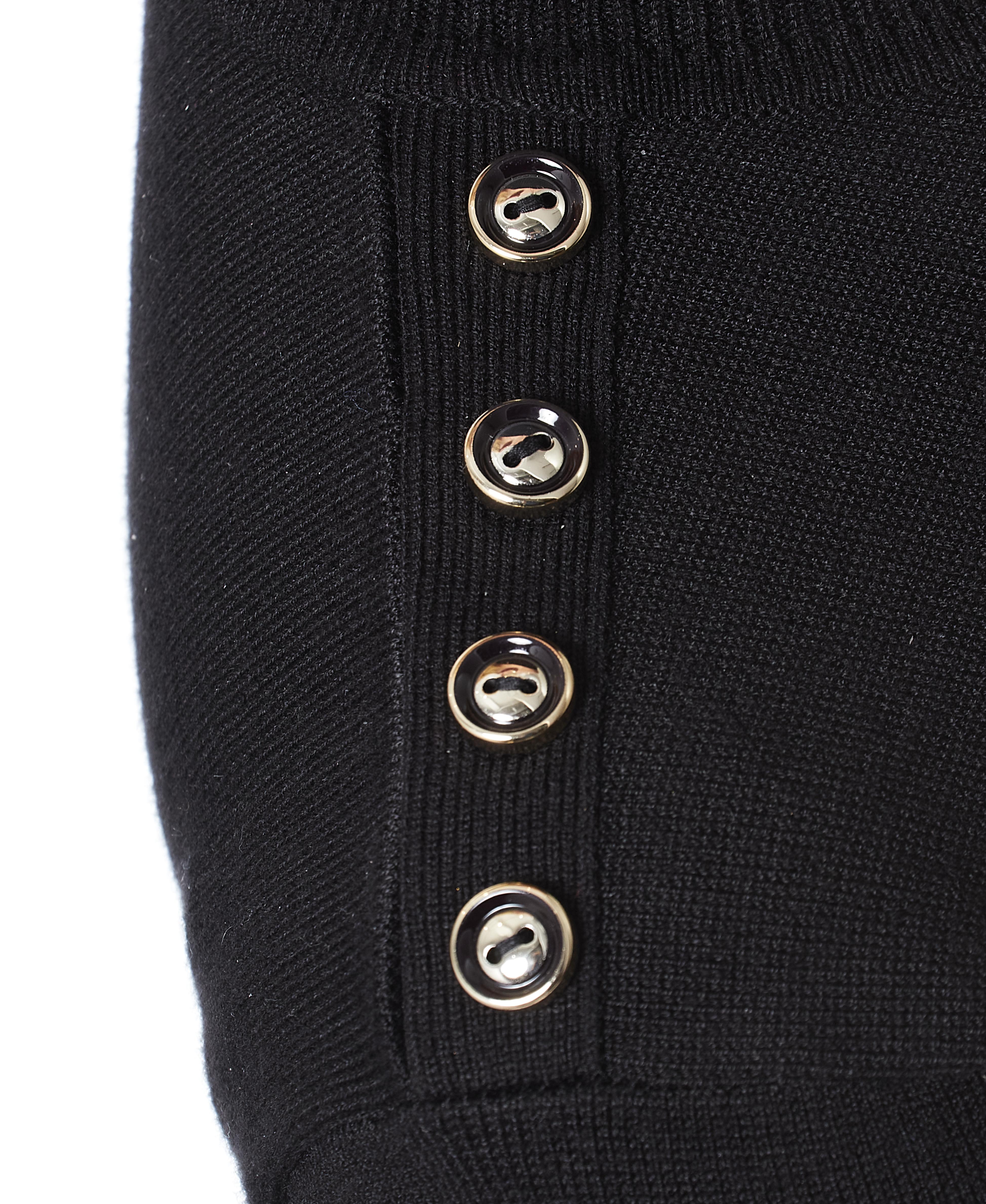 Petite Button Shoulder Turtleneck in Black