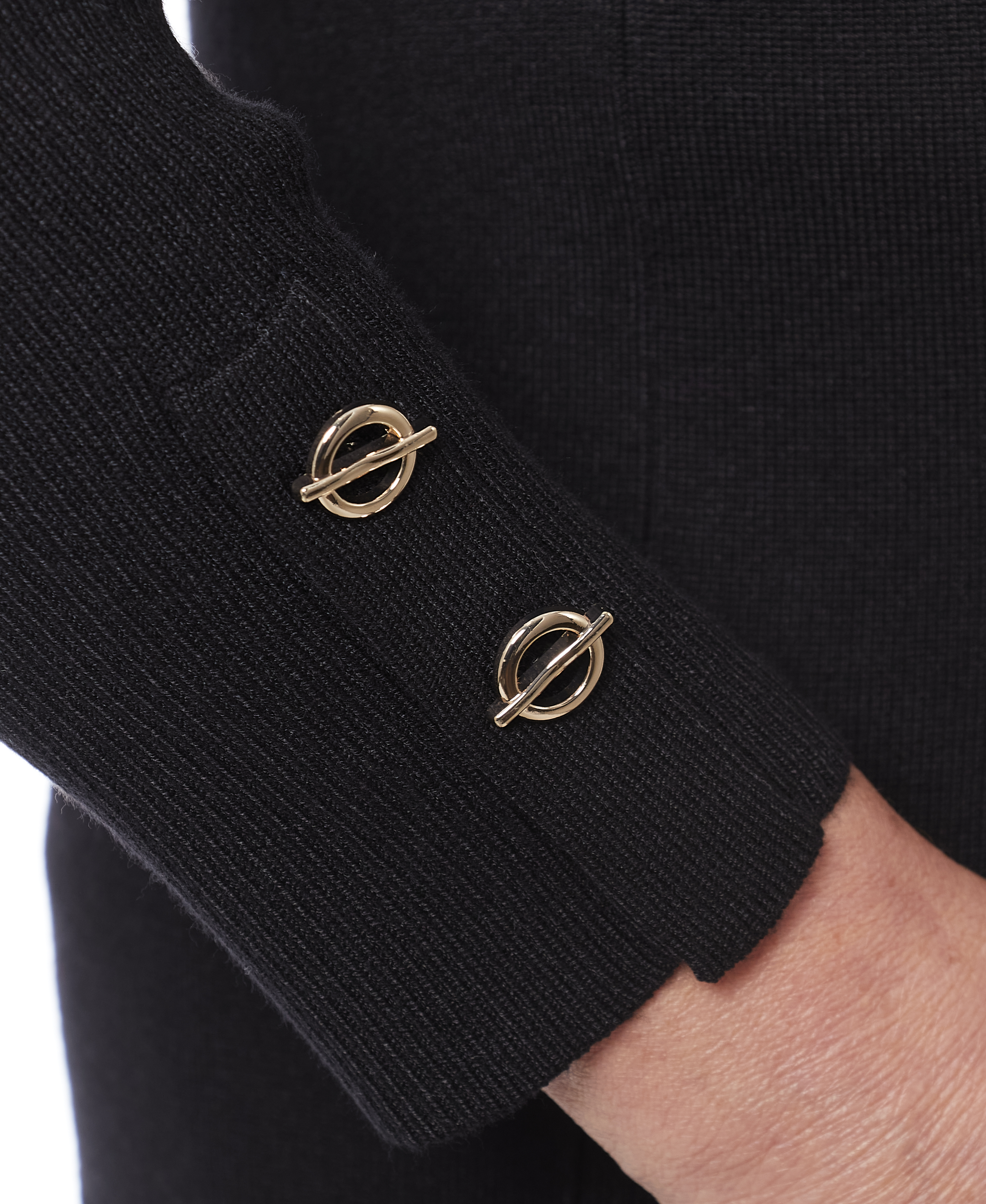 Petite Grommet Cuff Sweater in Black