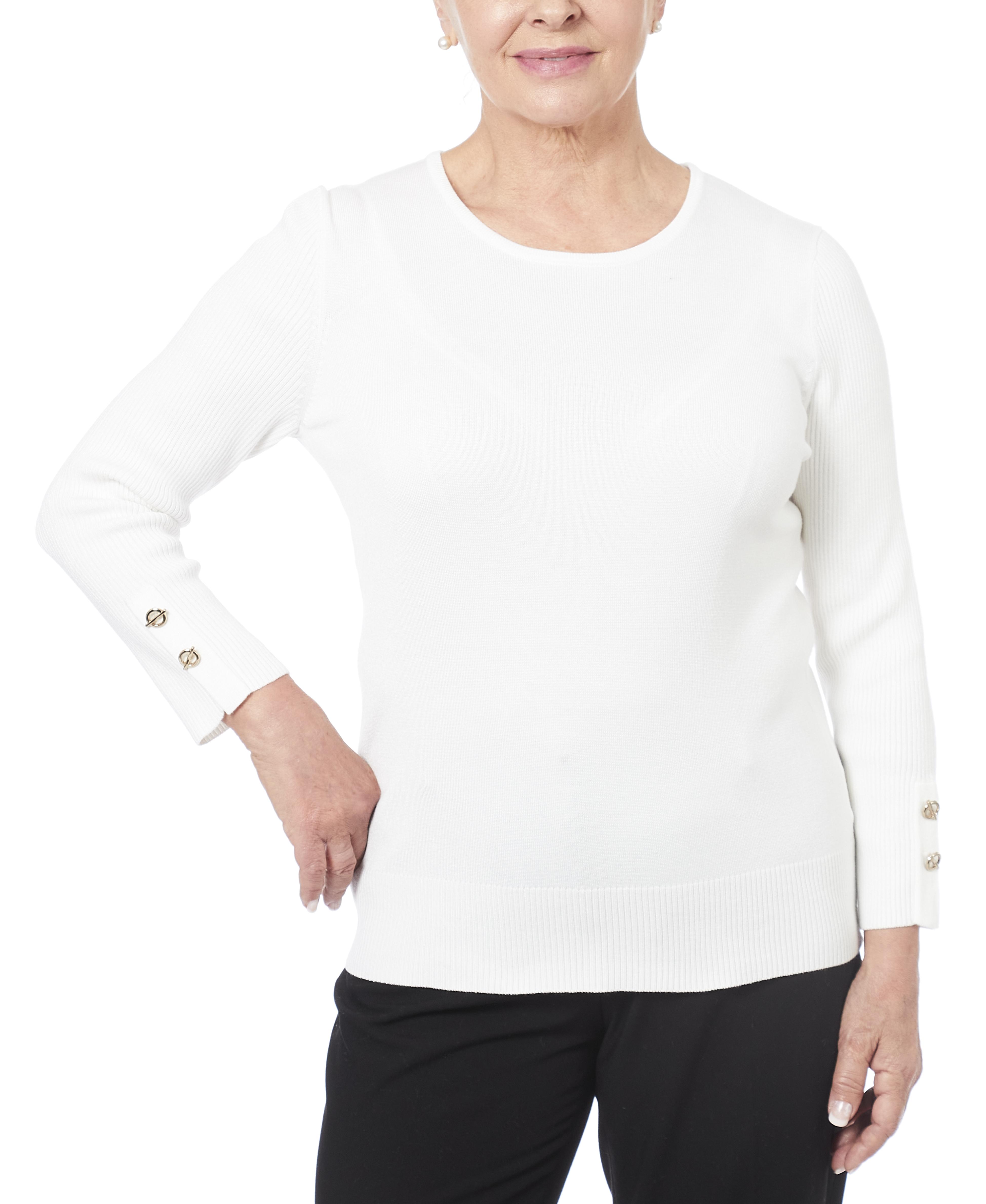 Petite Grommet Cuff Sweater in Ivory