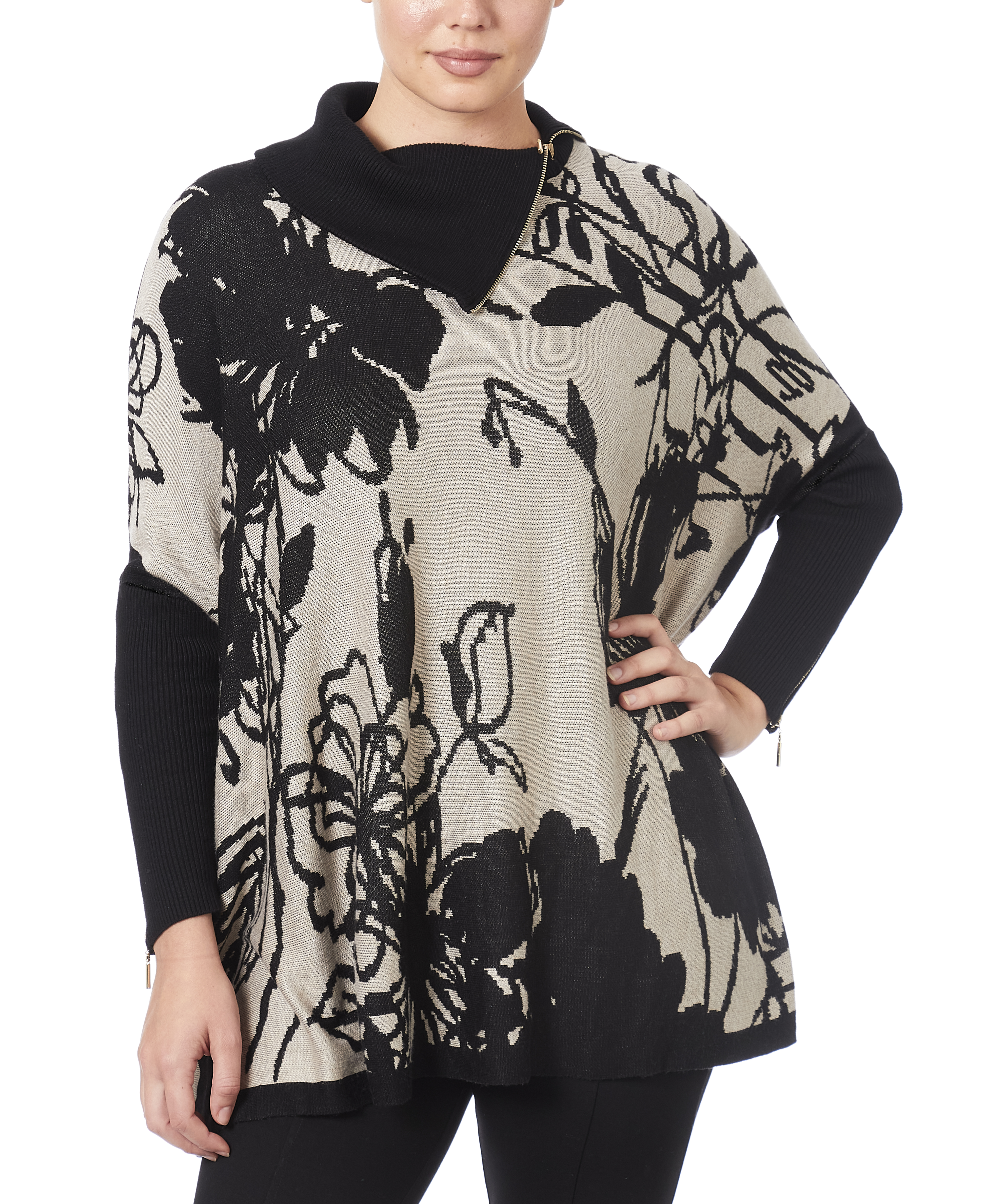 Poncho Zipper Sweater in Sketchy Floral