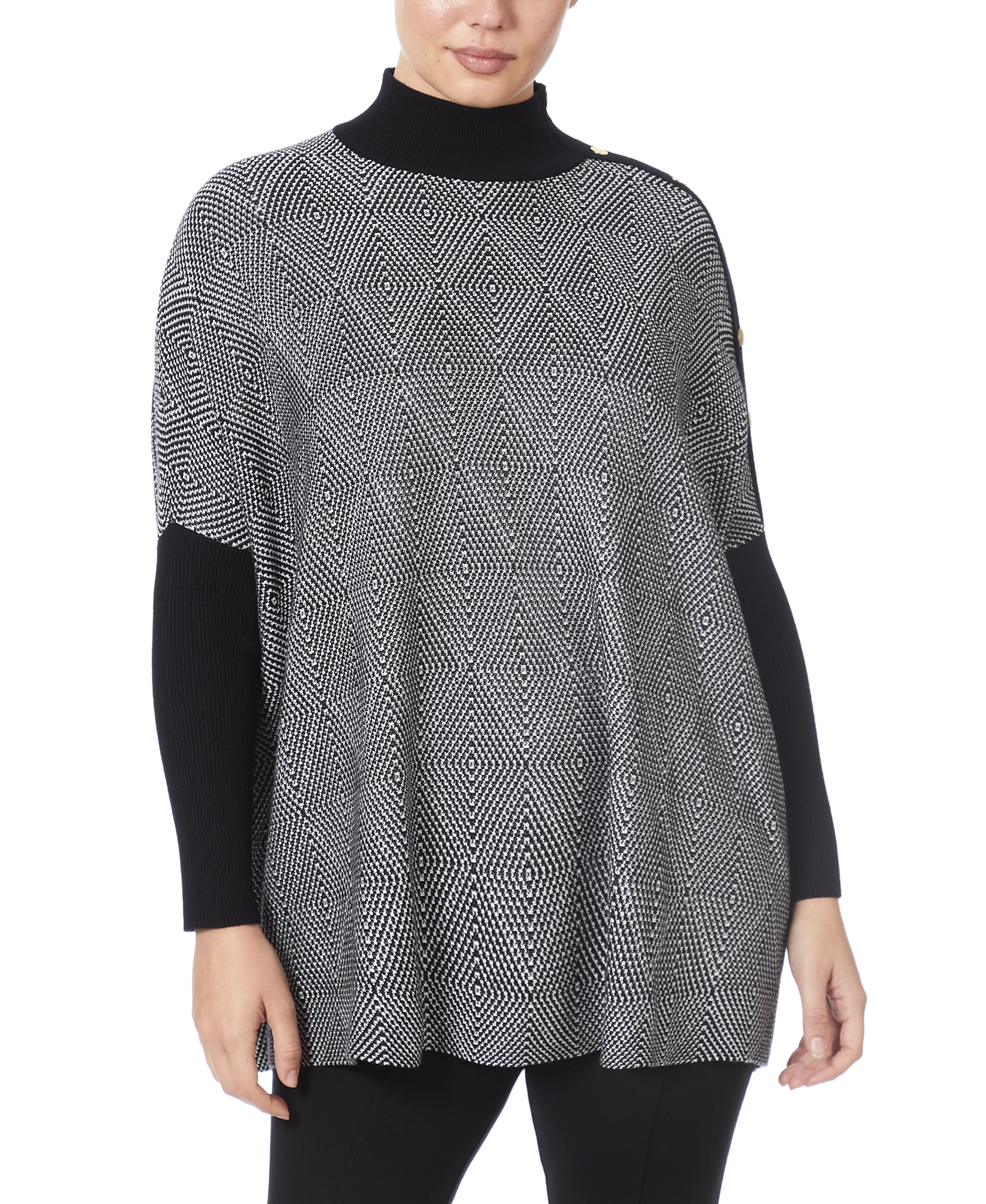 Mock Neck Poncho Sweater in Optic Diamond