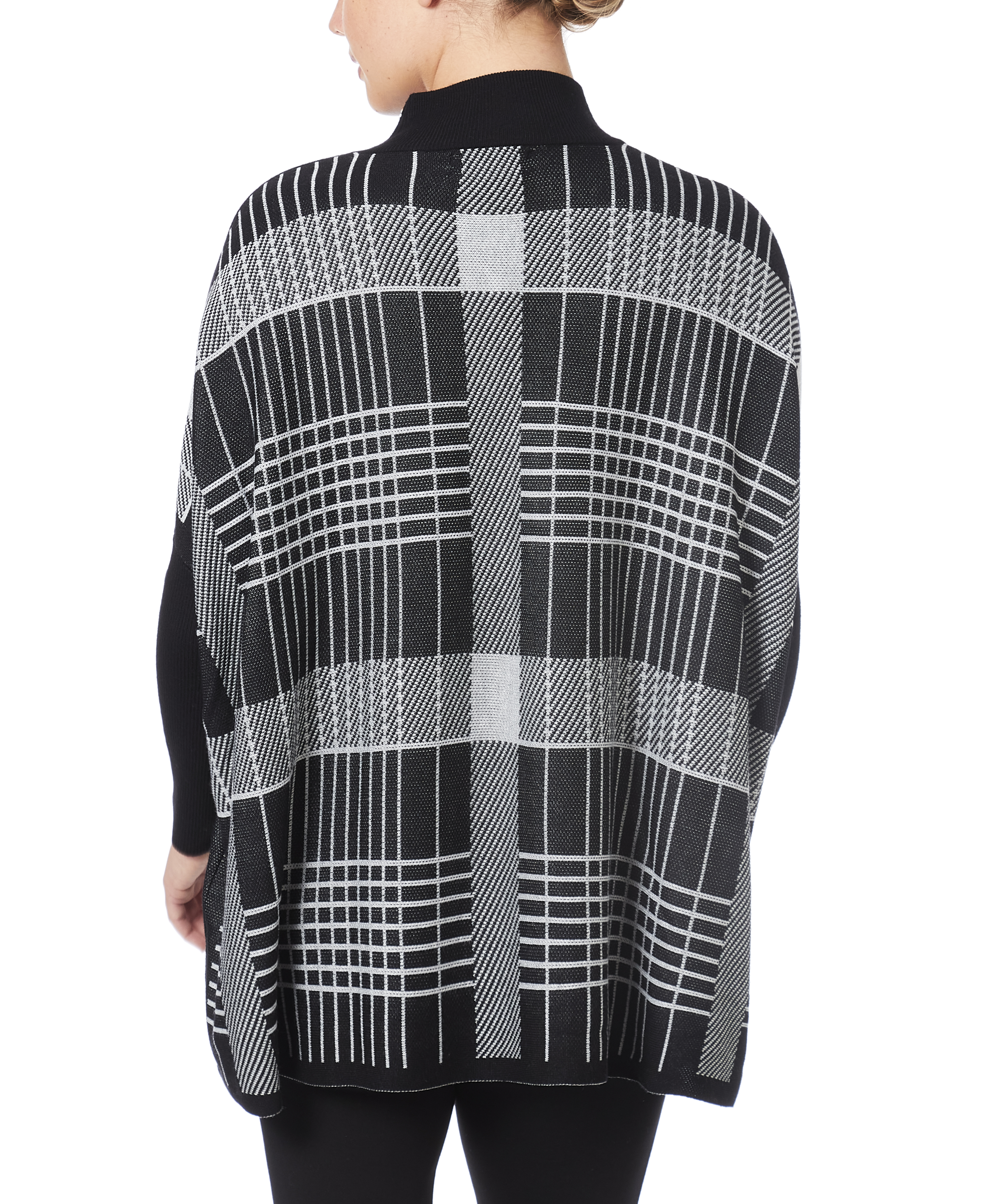 Mock Neck Poncho Sweater in Gridlines Plaid
