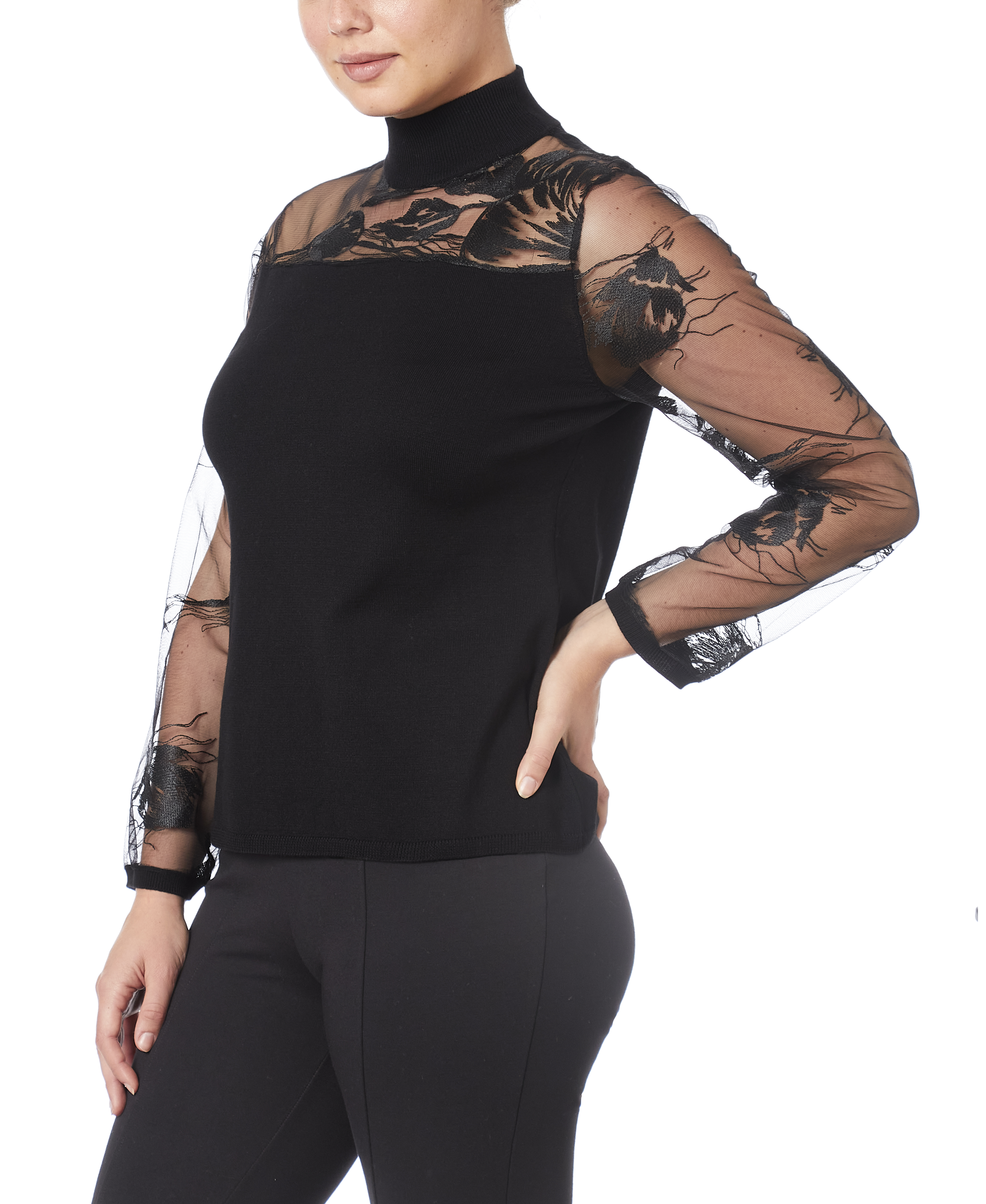 Mixed-Media Illusion Sweater in Black