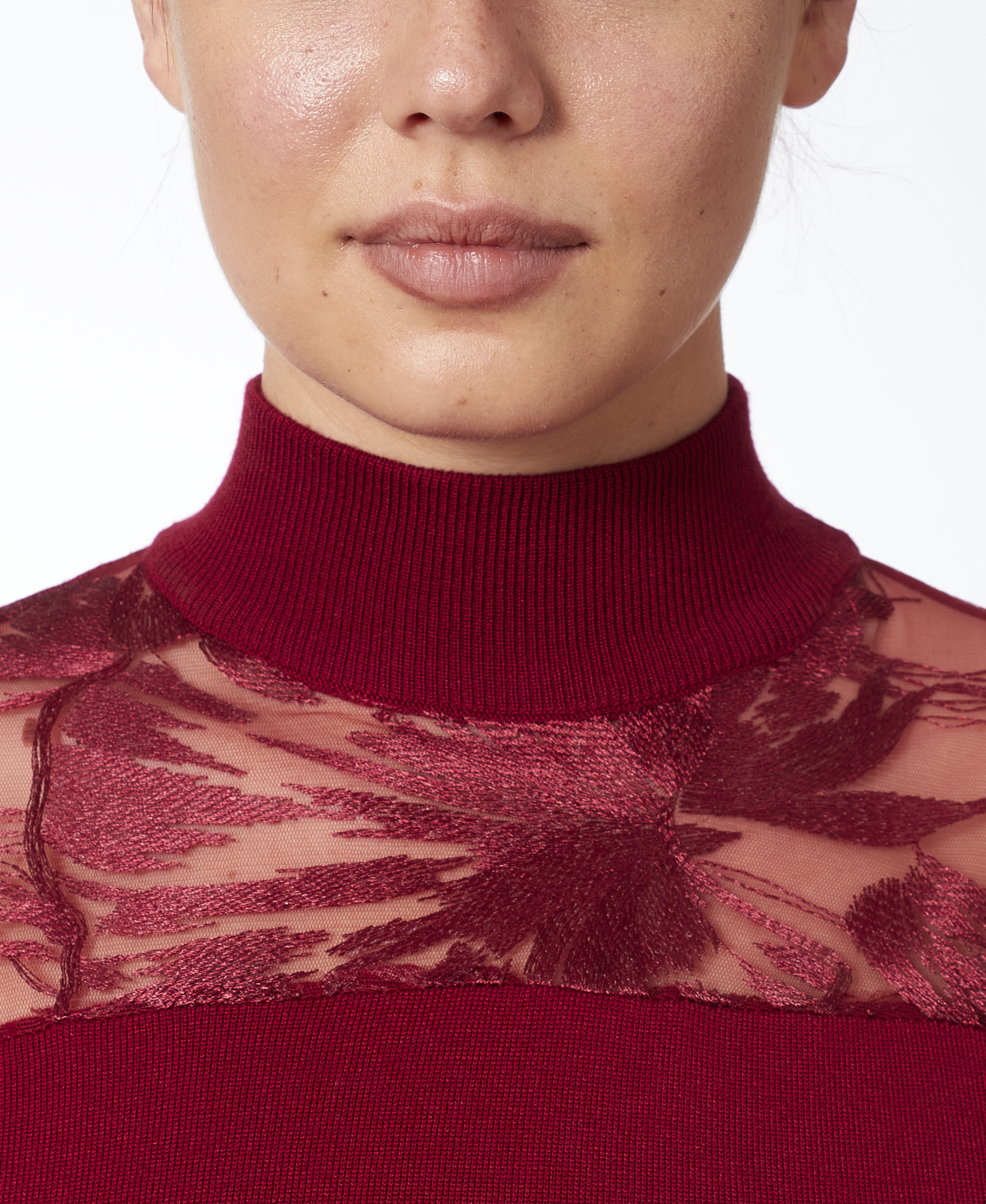 Mixed-Media Illusion Sweater in Deep Cranberry