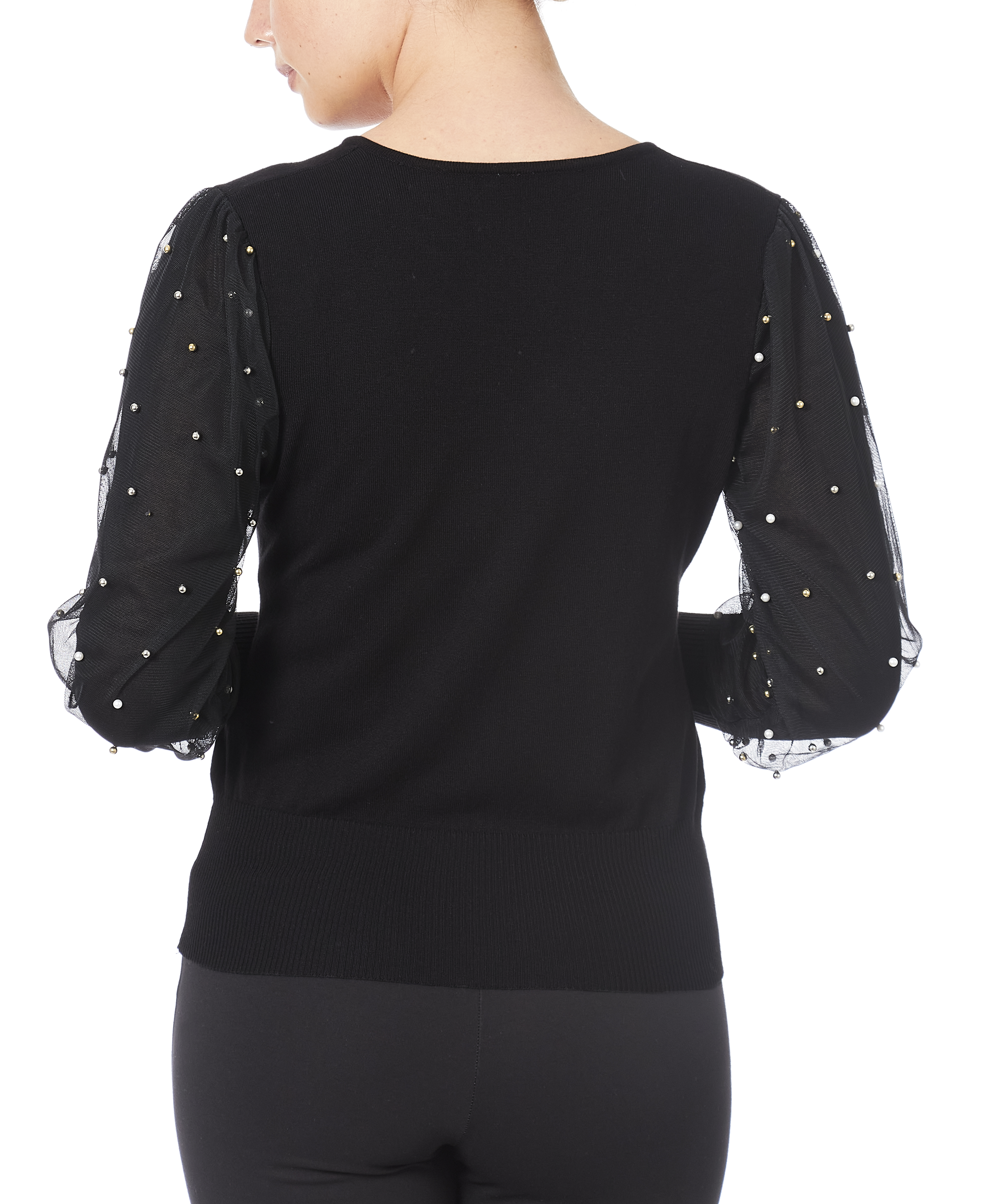 Pearl Overlay Mutton Sweater