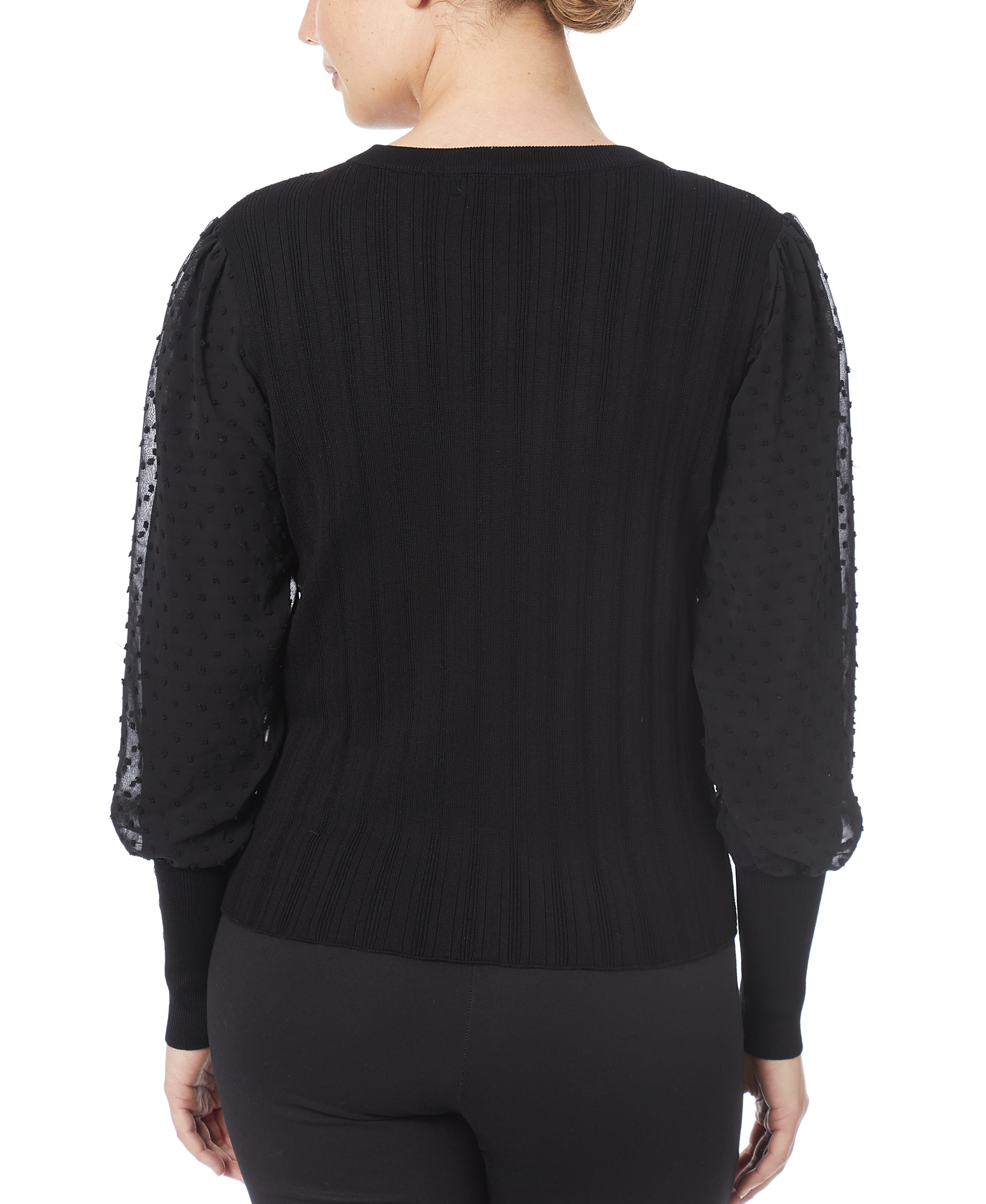 Mixed-Media Sweater in Black