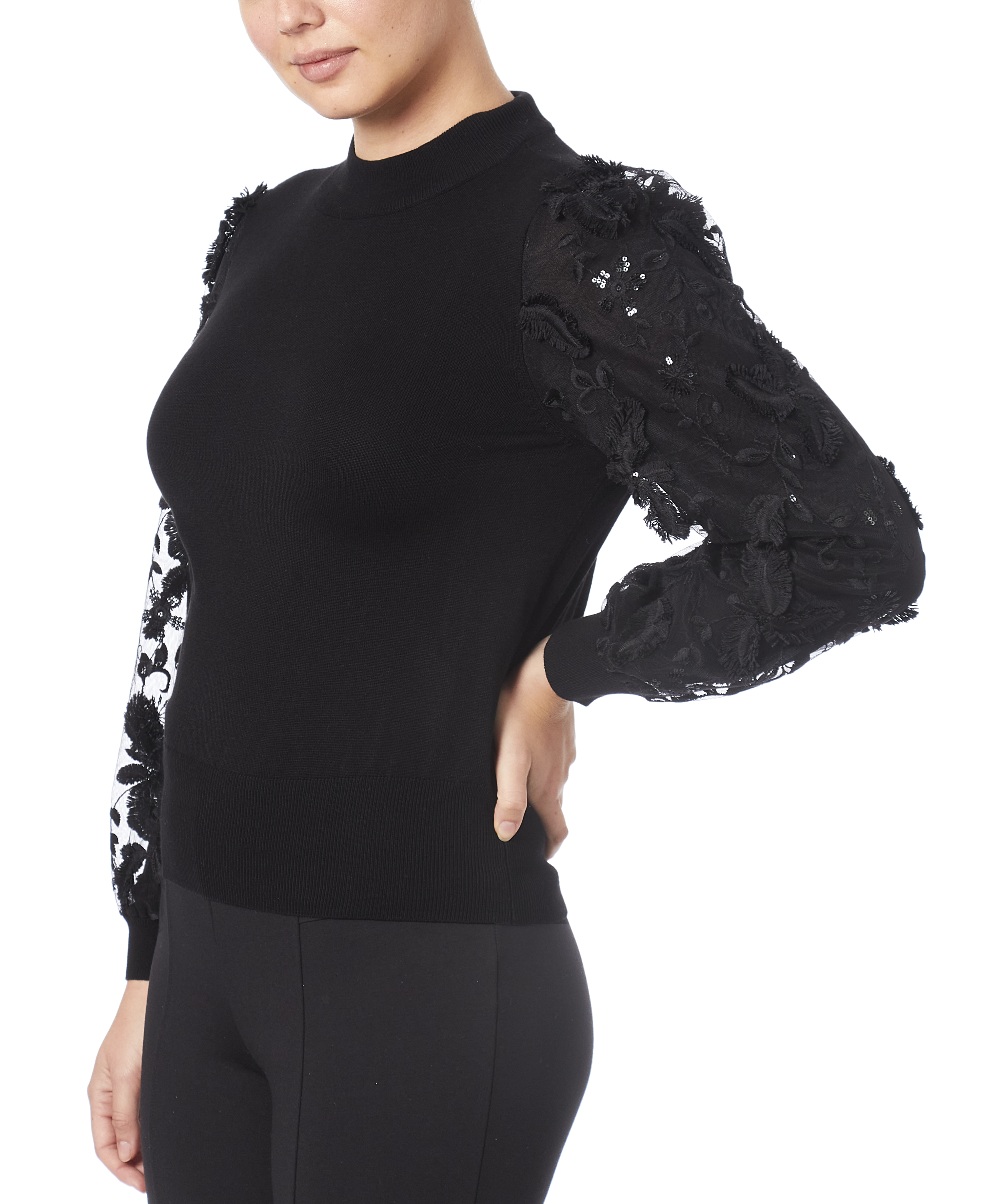 Mixed-Media 3D Sweater in Black