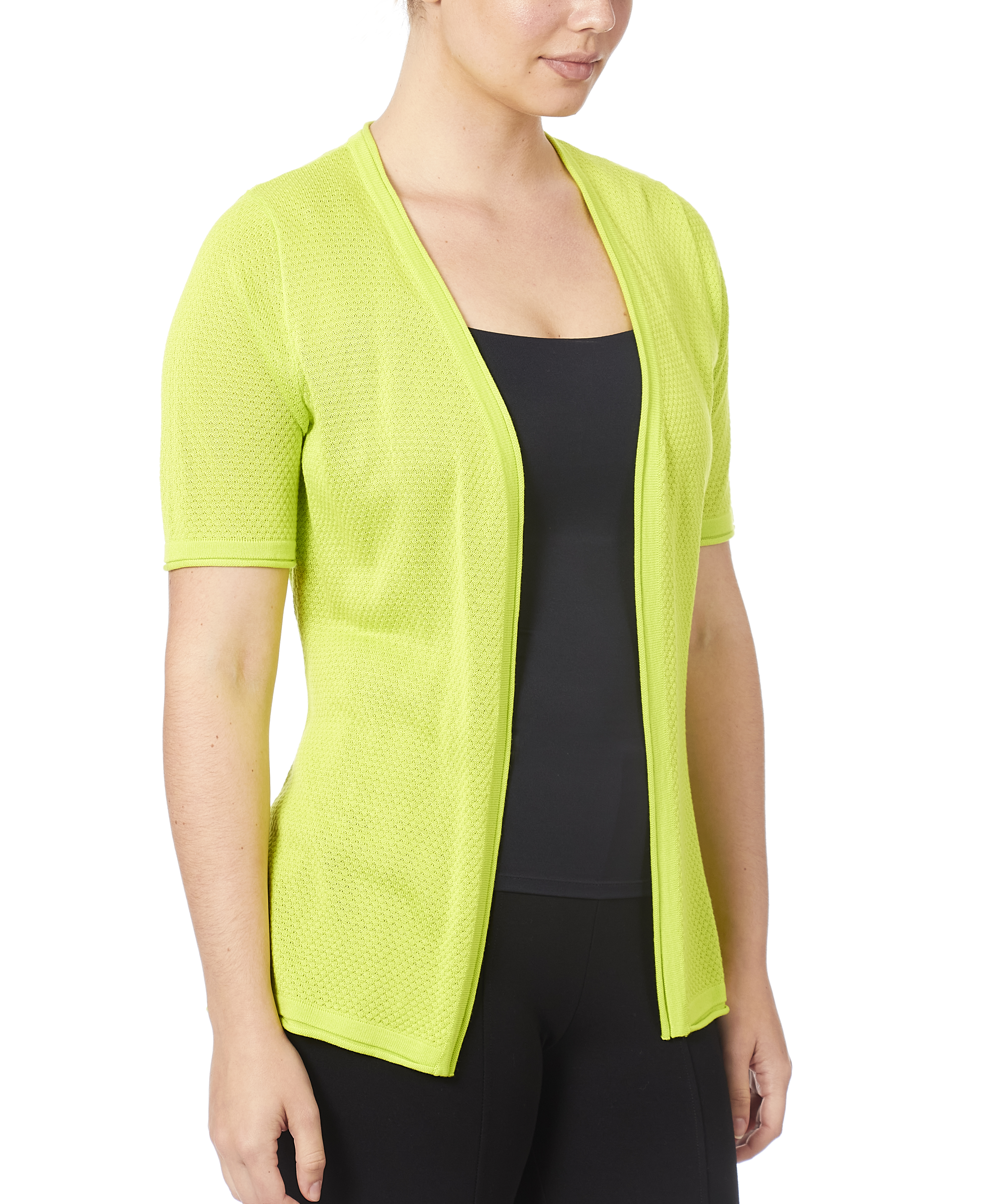 Pointelle Open Front Cardigan in Lime Punch