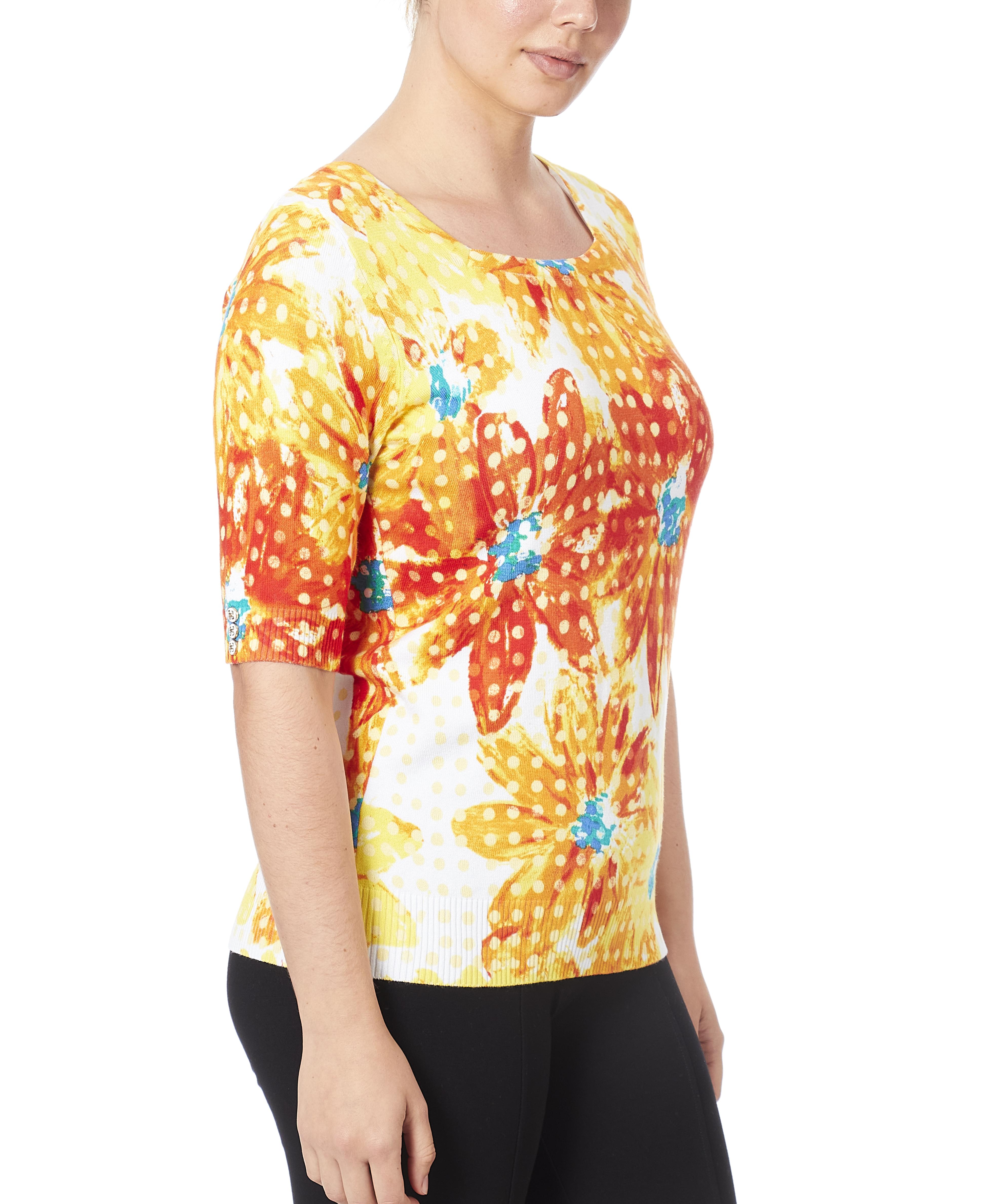 Square Neck Printed Sweater  in Sunshine