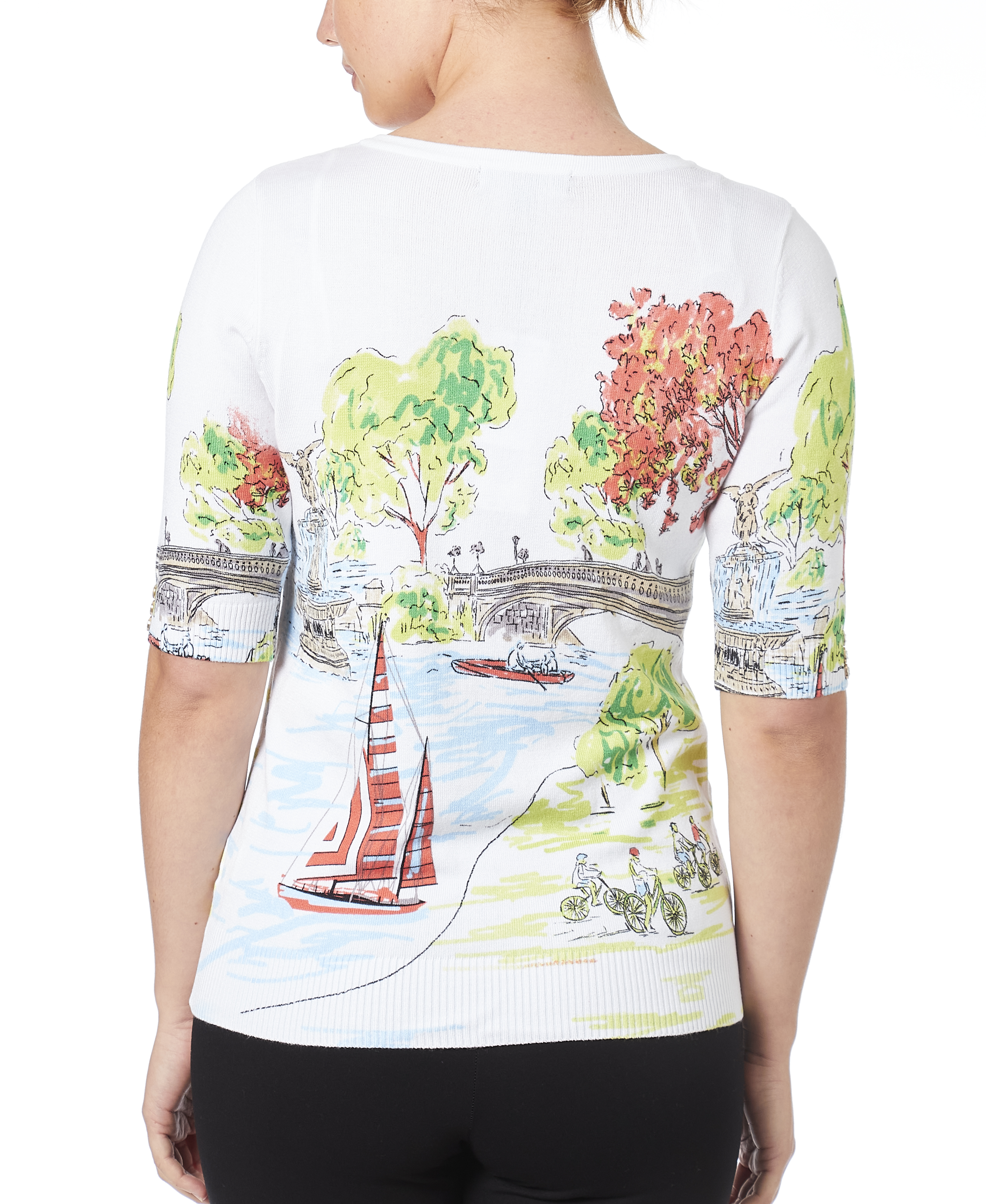 Square Neck Printed Sweater in A Day In The Park
