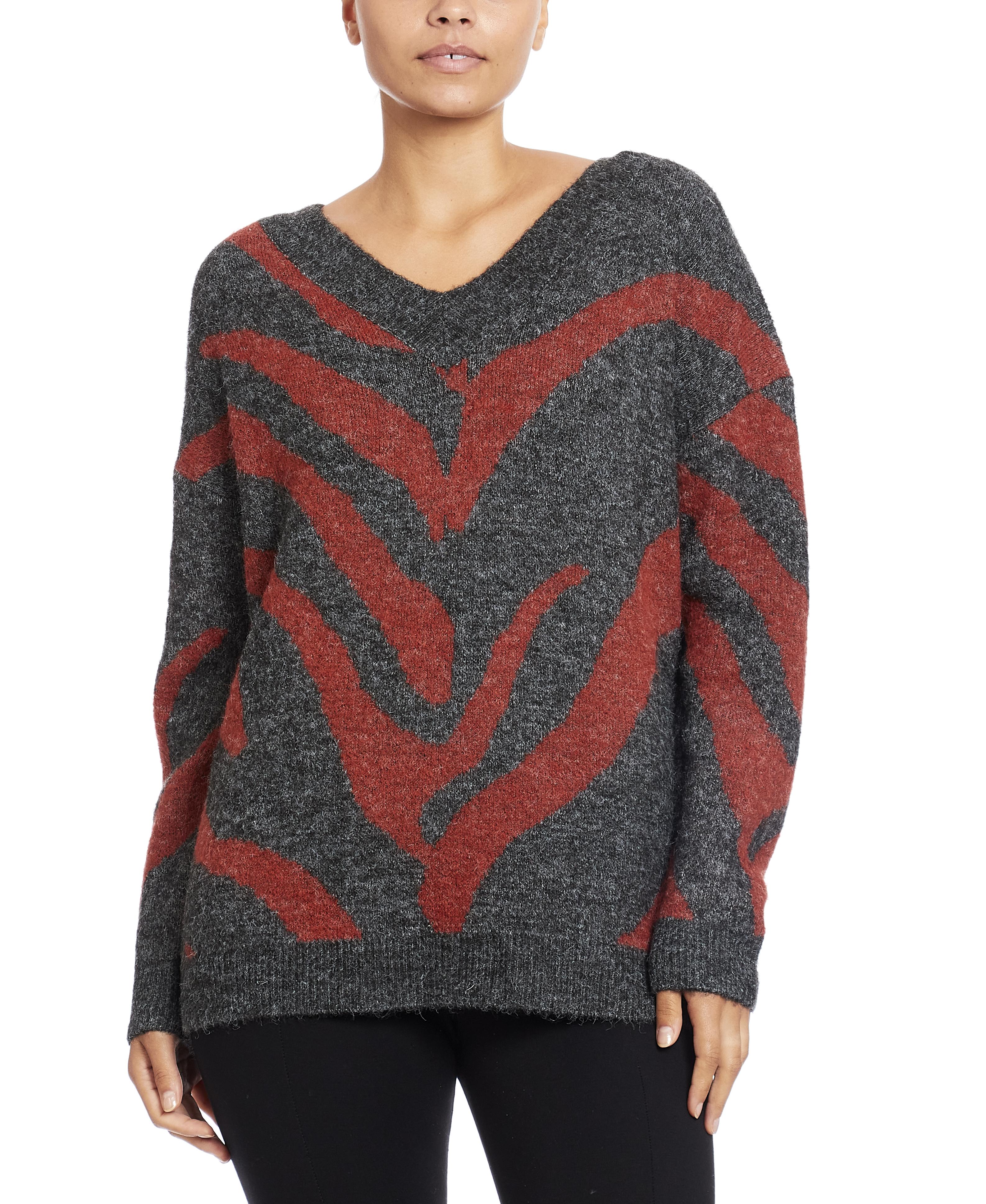 V-Neck Pullover in Spliced Zebra