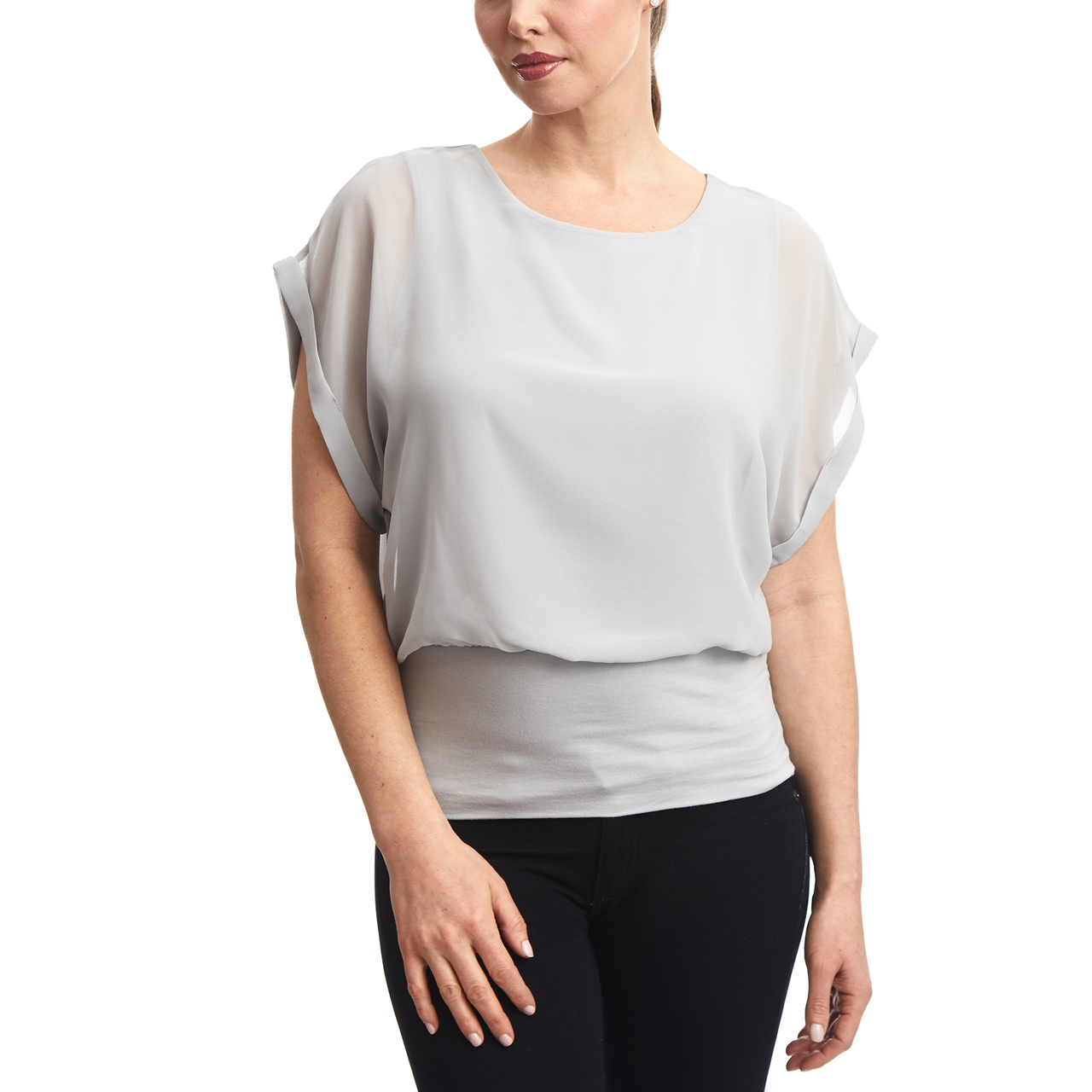Dolman Sleeve Chiffon Top With Knit Banded Bottom In Light Grey