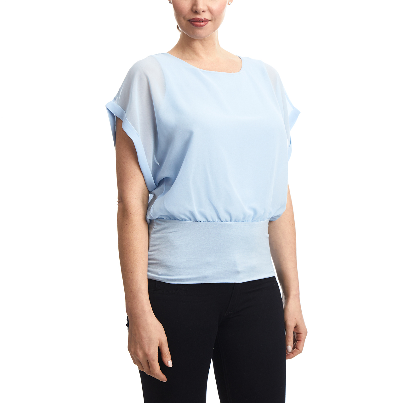 Dolman Sleeve Chiffon Top With Knit Banded Bottom In Light Blue