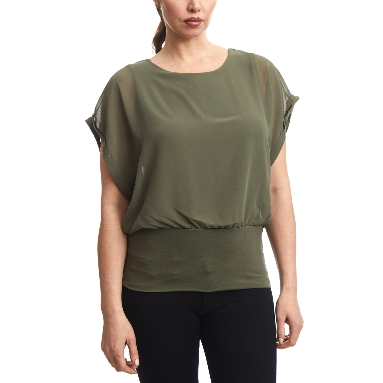 Dolman Sleeve Chiffon Top With Knit Banded Bottom In Olive