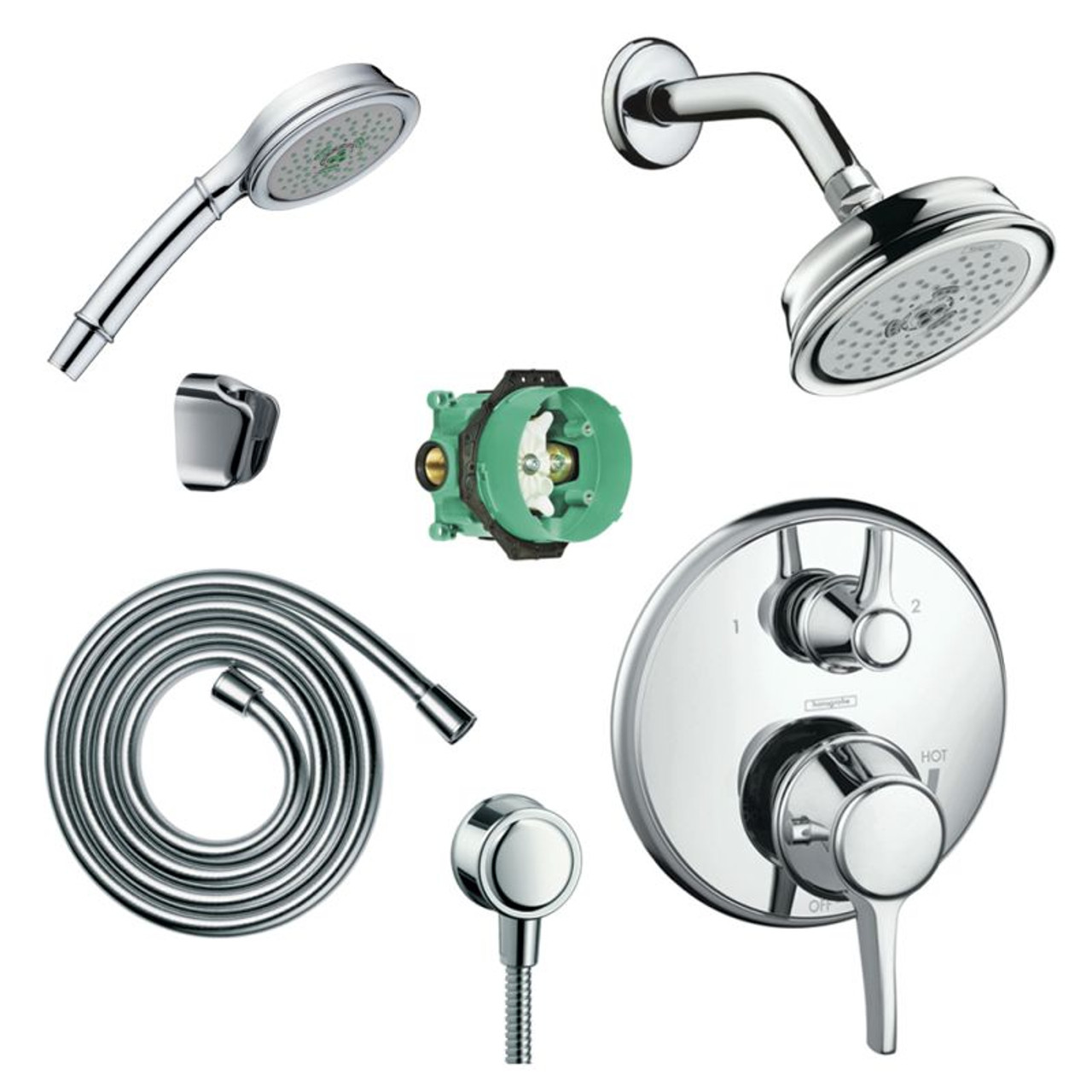 Hansgrohe Ksh04449 04070 72pc Croma Shower Faucet Kit With Handshower Pbv Trim Diverter And Rough In