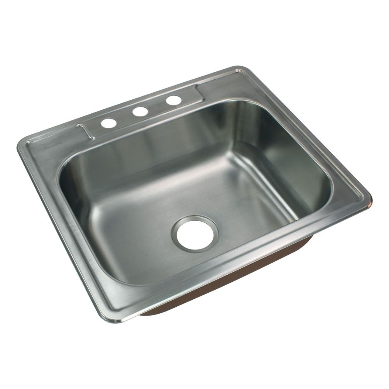Transolid CTSB25228-3 Classic 25in x 22in 18 Gauge Drop-in Single Bowl  Kitchen Sink with 3 Faucet Holes
