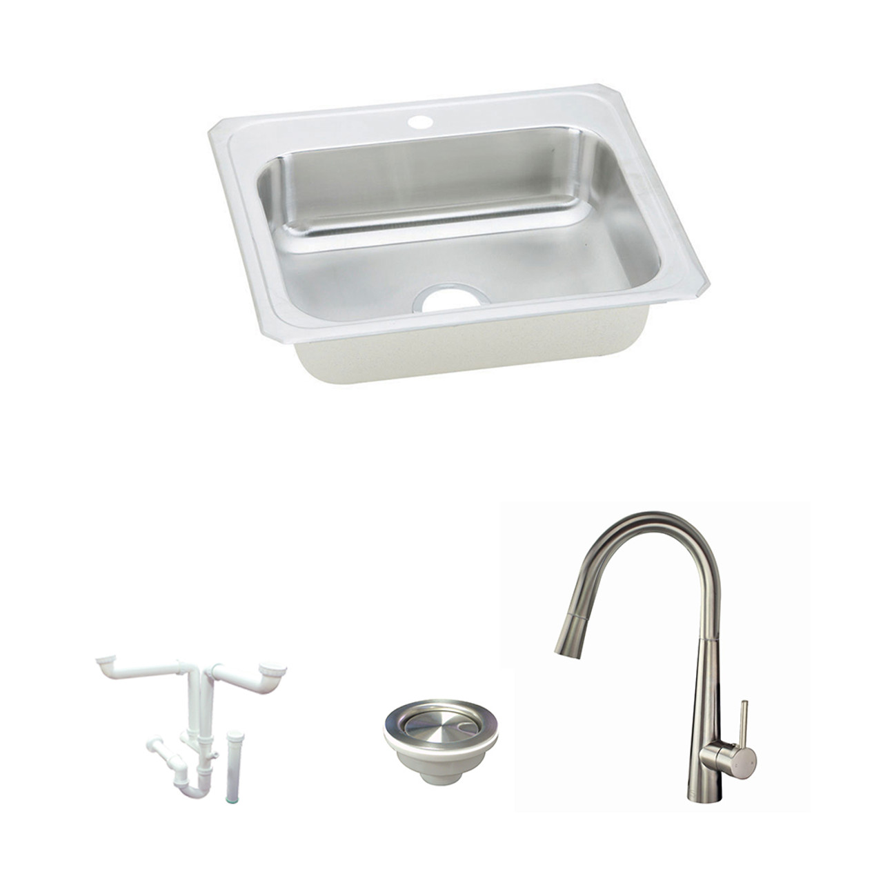 Elkay KF-CR31221 Celebrity Stainless Steel 31-In Drop-In Kitchen Sink Kit  With Kitchen Sink, Faucet, Strainer, Drain Installation Kit