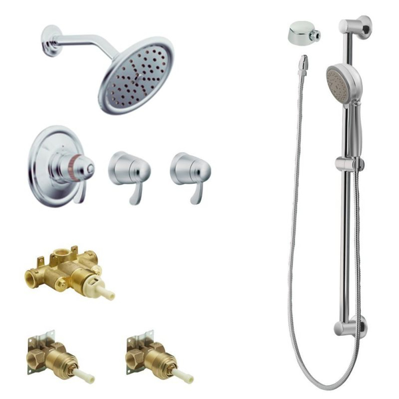 Moen Kspex H Ts270cr Exacttempa 7 In Rainshower Spa Kit With Handheld Shower And Slide Bar