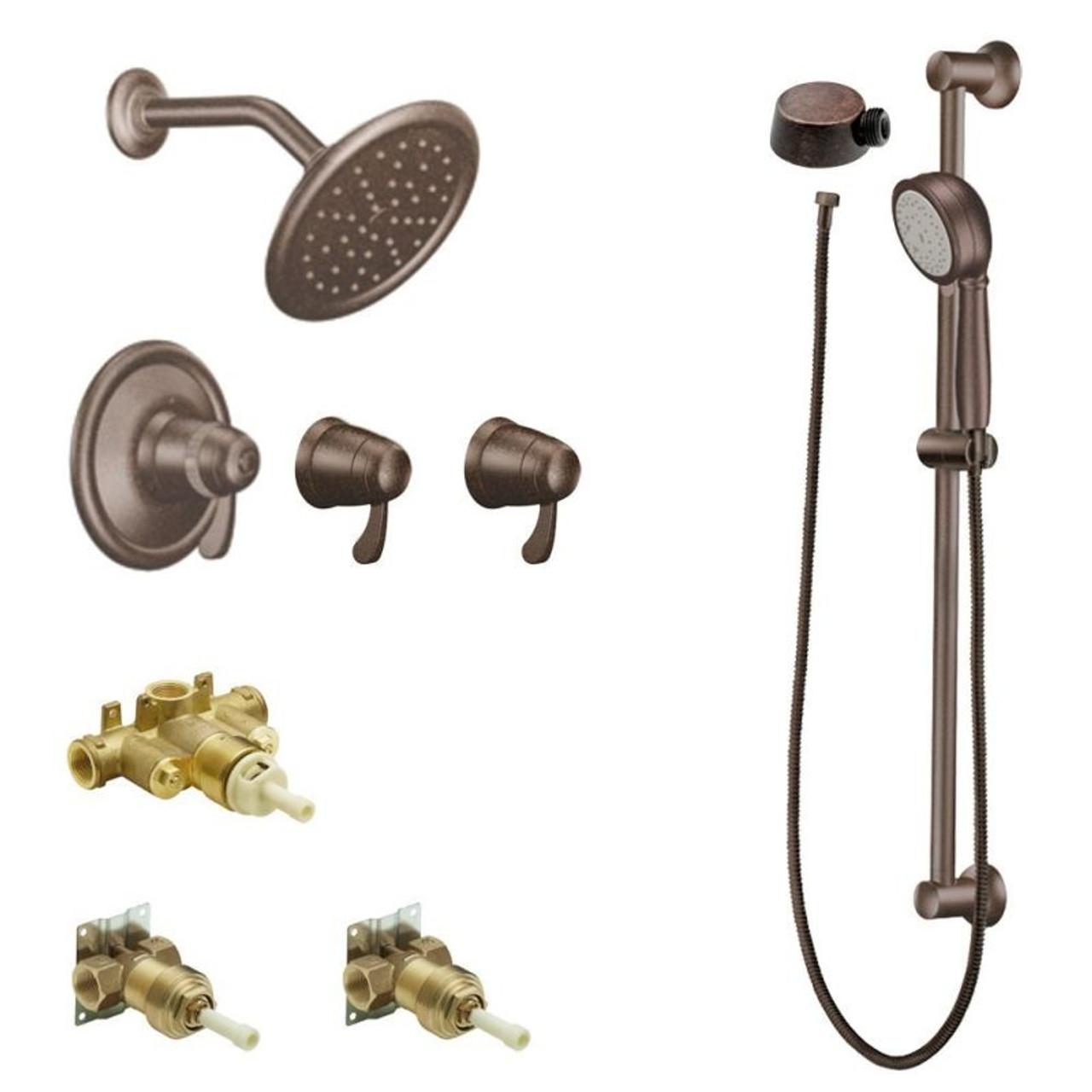 Moen Kspex H Ts270orb Exacttempa 7 In Rainshower Spa Kit With Handheld Shower And Slide Bar