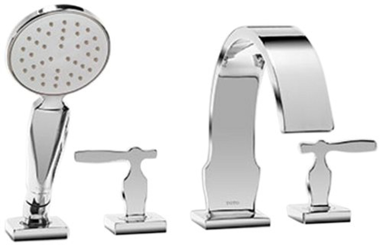Toto Tb626s1 Cp Aimes Deck Mounted Bathtub Faucet Trim Kit With Handheld Shower