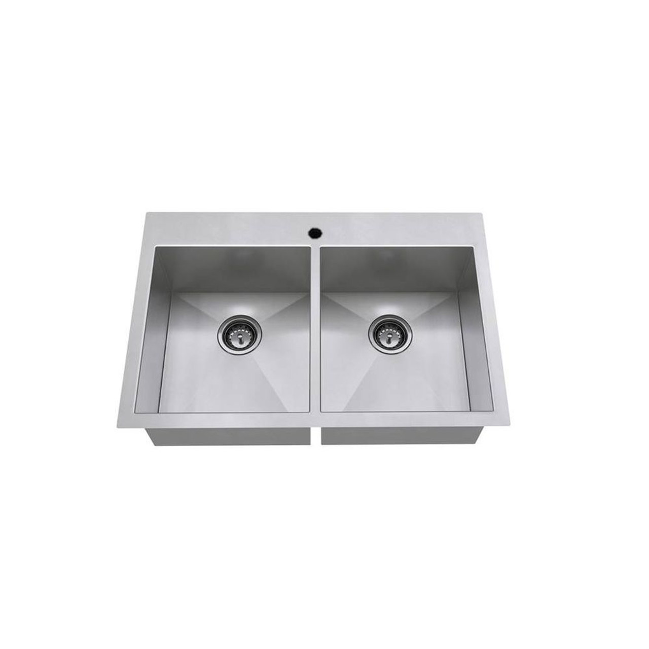 American Standard Edgewater 33 In Double Basin Kitchen Sink With Single Faucet Hole In Stainless 18db 9332211 075 Online Bath1 Com