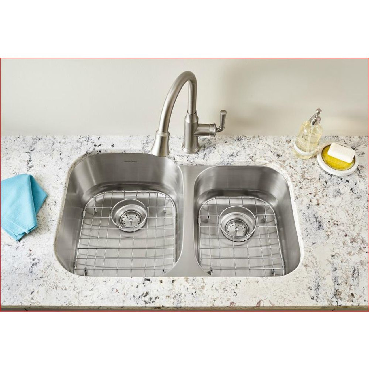 American Standard Portsmouth 31 5 In Double Basin Kitchen Sink In Stainless 18cr 9322100s 075 Online Bath1 Com