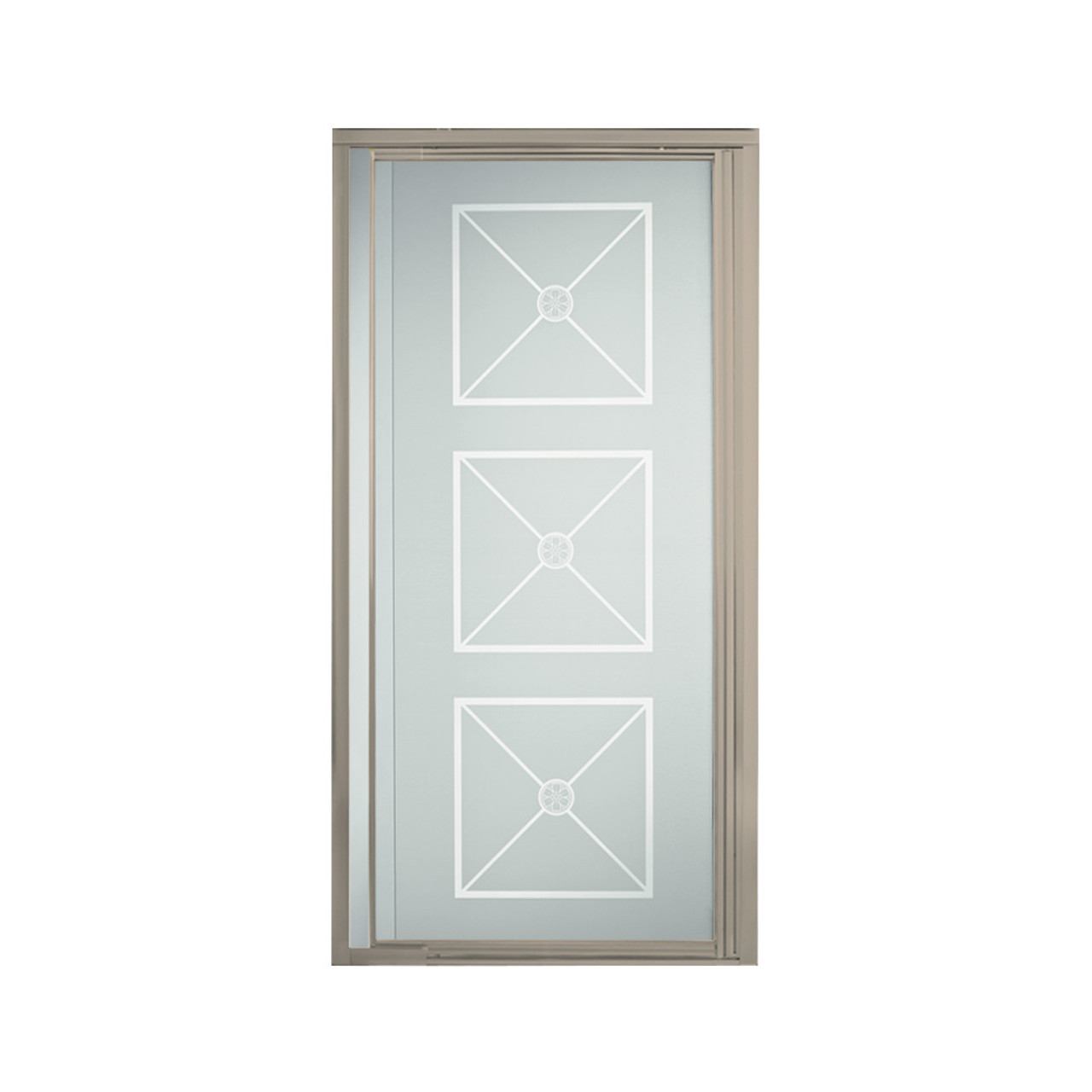 Sterling 1505d 36n G64 Vista Pivot Ii 31 1 4 In X 36 In Framed Alcove Shower Door With Brownstone Glass