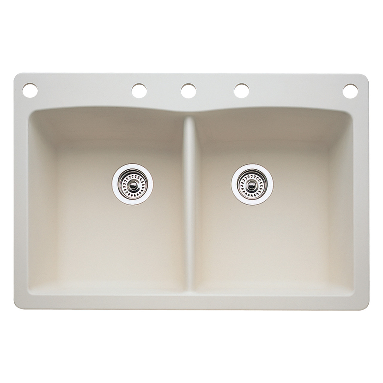 Blanco 441285-5 Diamond 5-Hole Double-Basin Drop-In Granite Kitchen Sink Truffle