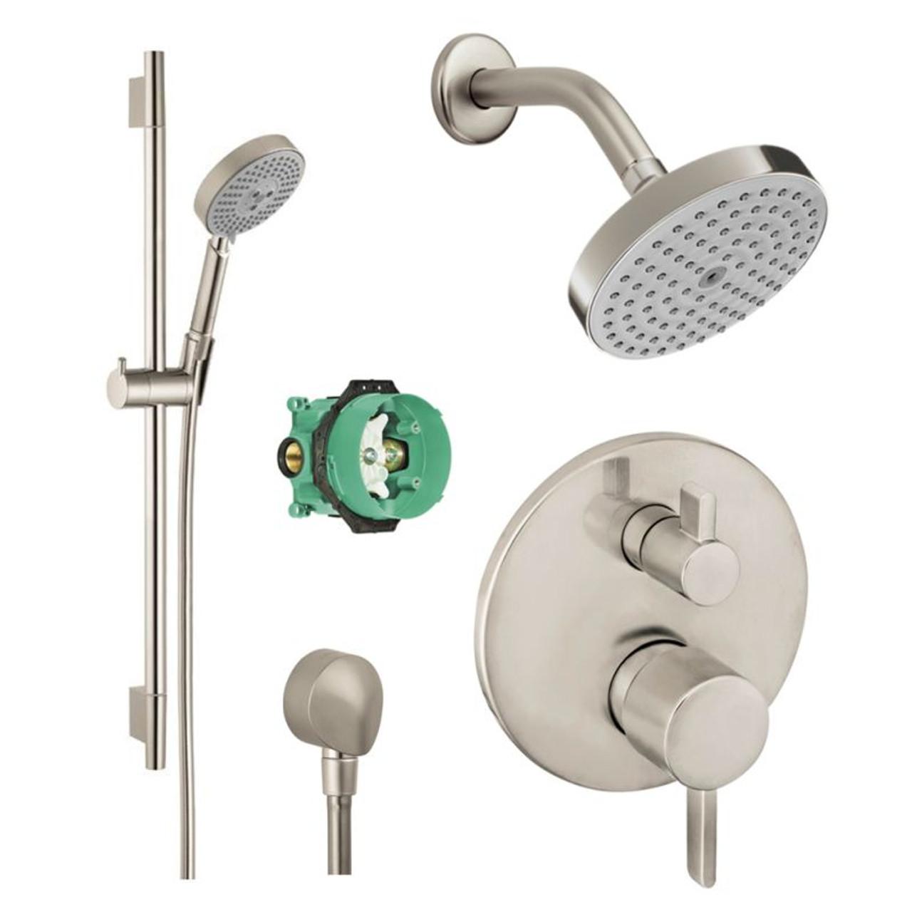 Hansgrohe Ksh04447 27486 66bn Raindance Shower Faucet Kit With Handshower Wallbar Pbv Trim Diverter And Rough In