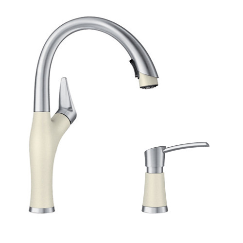 Blanco Kf 442273 Artona Pull Down Kitchen Faucet With Soap Dispenser In Biscuit Stainless Kf 442273 Online Bath1 Com