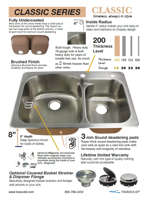 Transolid CTSB25228-1 Classic 25in x 22in 18 Gauge Drop-in Single Bowl  Kitchen Sink with 1 Faucet Hole