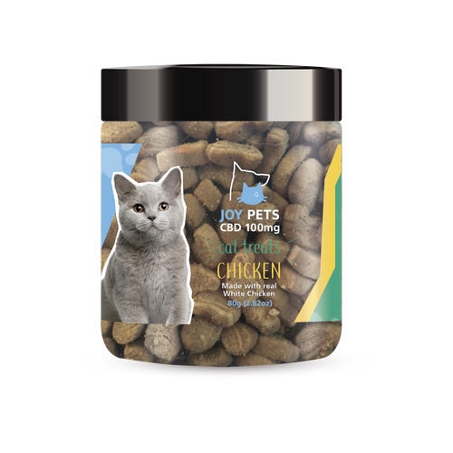 JoyPets CBD features 100mg of CBD (cannabidiol) infused per jar. These Crunchy Cat Treats provide a natural CBD hemp extract in your pet's favorite treat made with real White Meat Chicken ! The yummy CBD infused treats let your feline experience the delicious benefits of CBD oil perfect for anxious and nervous cats. NO THC.