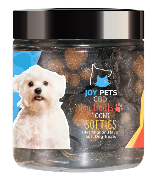 JoyPets CBD features 100mg of CBD (cannabidiol) infused per jar. These Softies Dogs Treats provide a natural CBD hemp extract in your pet's favorite treat ! The yummy CBD infused treats let your dog experience the delicious benefits of CBD oil perfect for anxious and nervous dogs. NO THC.