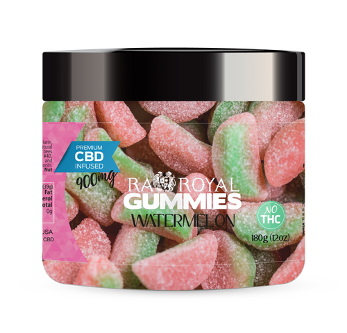 CBD Gummies are the #1 CBD choice for many people wanting to take CBD oil (cannabidiol). R.A. Royal Gummies 900mg CBD Infused Watermelon provide a natural CBD hemp extract in your favorite CBD gummy taste! The chewy edible CBD infused candies manufactured from industrial hemp plants will let you experience the delicious benefits of CBD oil.  NO THC.
