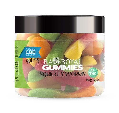 CBD Gummies are the #1 CBD choice for many people wanting to take CBD oil (cannabidiol). R.A. Royal Gummies 900mg CBD Infused Squiggly Worms provide a natural CBD hemp extract in your favorite CBD gummy taste! The chewy edible CBD infused candies manufactured from industrial hemp plants will let you experience the delicious benefits of CBD oil.  NO THC.
