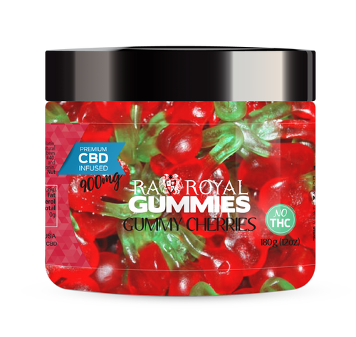 CBD Gummies are the #1 CBD choice for many people wanting to take CBD oil (cannabidiol). R.A. Royal Gummies 900mg CBD Infused Gummy Cherries provide a natural CBD hemp extract in your favorite CBD gummy taste! The chewy edible CBD infused candies manufactured from industrial hemp plants will let you experience the delicious benefits of CBD oil.  NO THC.