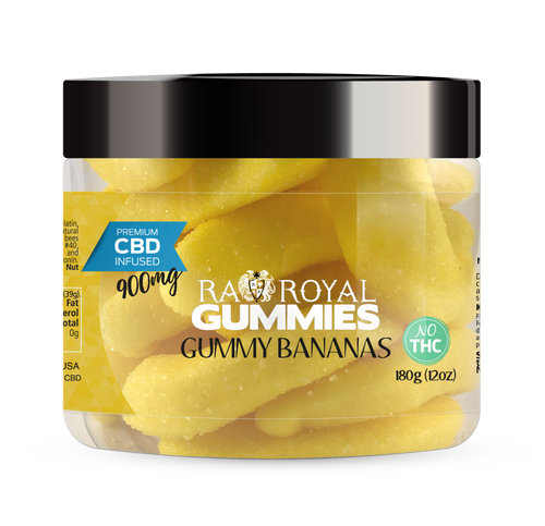 CBD Gummies are the #1 CBD choice for many people wanting to take CBD oil (cannabidiol). R.A. Royal Gummies 900mg CBD Infused Gummy Bananas provide a natural CBD hemp extract in your favorite CBD gummy taste! The chewy edible CBD infused candies manufactured from industrial hemp plants will let you experience the delicious benefits of CBD oil.  NO THC.
