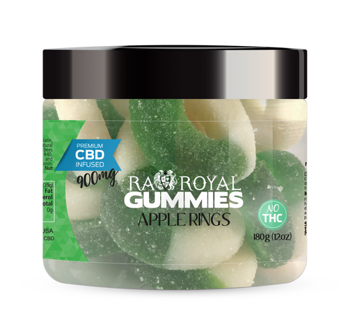 CBD Gummies are the #1 CBD choice for many people wanting to take CBD oil (cannabidiol). R.A. Royal Gummies 900mg CBD Infused Apple Rings provide a natural CBD hemp extract in your favorite CBD gummy taste! The chewy edible CBD infused candies manufactured from industrial hemp plants will let you experience the delicious benefits of CBD oil.  NO THC.