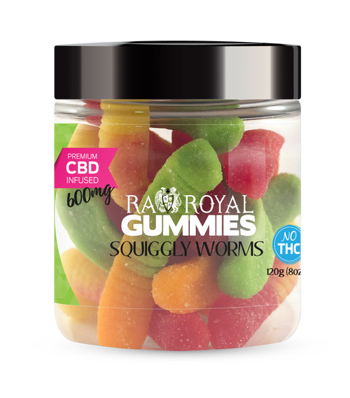 CBD Gummies are the #1 CBD choice for many people wanting to take CBD oil (cannabidiol). R.A. Royal Gummies 600mg CBD Infused Squiggly Worms provide a natural CBD hemp extract in your favorite CBD gummy taste! The chewy edible CBD infused candies manufactured from industrial hemp plants will let you experience the delicious benefits of CBD oil.  NO THC.