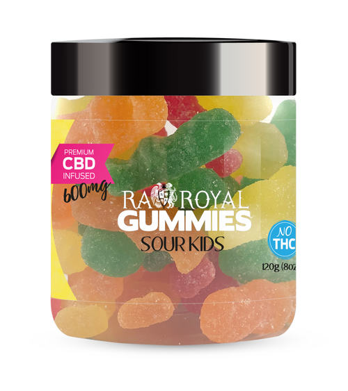 CBD Gummies are the #1 CBD choice for many people wanting to take CBD oil (cannabidiol). R.A. Royal Gummies 600mg CBD Infused Sour Kids provide a natural CBD hemp extract in your favorite CBD gummy taste! The chewy edible CBD infused candies manufactured from industrial hemp plants will let you experience the delicious benefits of CBD oil.  NO THC.