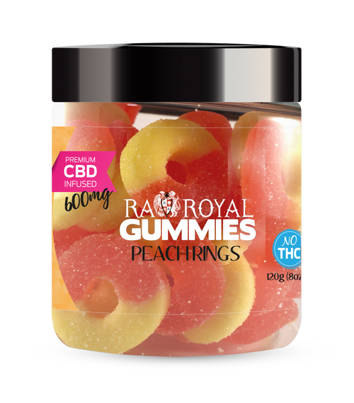 CBD Gummies are the #1 CBD choice for many people wanting to take CBD oil (cannabidiol). R.A. Royal Gummies 600mg CBD Infused Peach Rings provide a natural CBD hemp extract in your favorite CBD gummy taste! The chewy edible CBD infused candies manufactured from industrial hemp plants will let you experience the delicious benefits of CBD oil.  NO THC.