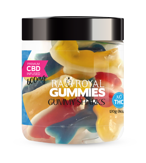 CBD Gummies are the #1 CBD choice for many people wanting to take CBD oil (cannabidiol). R.A. Royal Gummies 600mg CBD Infused Gummy Sharks provide a natural CBD hemp extract in your favorite CBD gummy taste! The chewy edible CBD infused candies manufactured from industrial hemp plants will let you experience the delicious benefits of CBD oil.  NO THC.
