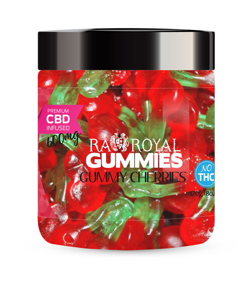 CBD Gummies are the #1 CBD choice for many people wanting to take CBD oil (cannabidiol). R.A. Royal Gummies 600mg CBD Infused Gummy Cherries provide a natural CBD hemp extract in your favorite CBD gummy taste! The chewy edible CBD infused candies manufactured from industrial hemp plants will let you experience the delicious benefits of CBD oil.  NO THC.