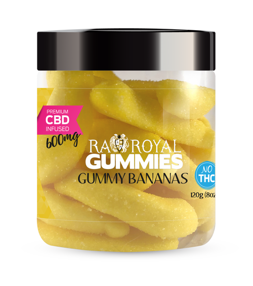 CBD Gummies are the #1 CBD choice for many people wanting to take CBD oil (cannabidiol). R.A. Royal Gummies 600mg CBD Infused Gummy Bananas provide a natural CBD hemp extract in your favorite CBD gummy taste! The chewy edible CBD infused candies manufactured from industrial hemp plants will let you experience the delicious benefits of CBD oil.  NO THC.