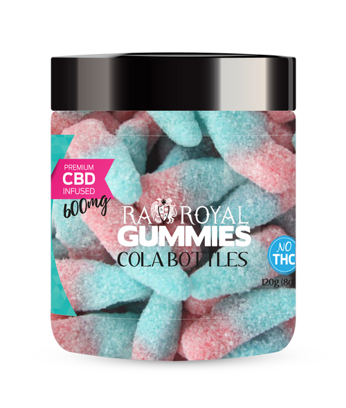 CBD Gummies are the #1 CBD choice for many people wanting to take CBD oil (cannabidiol). R.A. Royal Gummies 600mg CBD Infused Cola Bottles provide a natural CBD hemp extract in your favorite CBD gummy taste! The chewy edible CBD infused candies manufactured from industrial hemp plants will let you experience the delicious benefits of CBD oil.  NO THC.