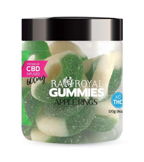 CBD Gummies are the #1 CBD choice for many people wanting to take CBD oil (cannabidiol). R.A. Royal Gummies 600mg CBD Infused Apple Rings provide a natural CBD hemp extract in your favorite CBD gummy taste! The chewy edible CBD infused candies manufactured from industrial hemp plants will let you experience the delicious benefits of CBD oil.  NO THC.