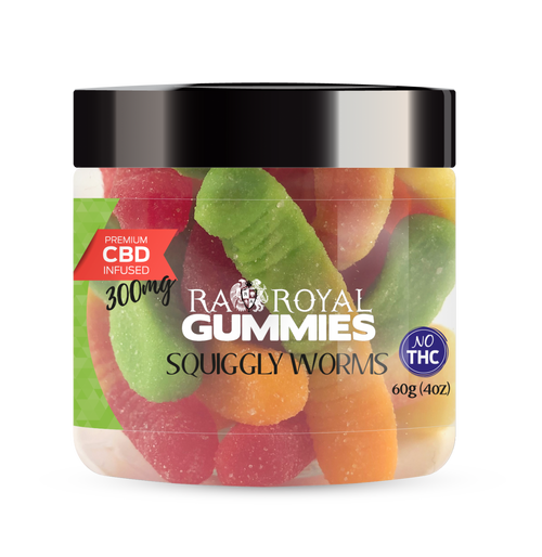 CBD Gummies are the #1 CBD choice for many people wanting to take CBD oil (cannabidiol). R.A. Royal Gummies 300mg CBD Infused Squiggly Worms provide a natural CBD hemp extract in your favorite CBD gummy taste! The chewy edible CBD infused candies manufactured from industrial hemp plants will let you experience the delicious benefits of CBD oil.  NO THC.